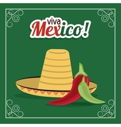 Hat and pepper icon Mexico culture vector