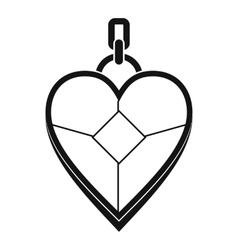Heart shaped pendant icon simple style vector