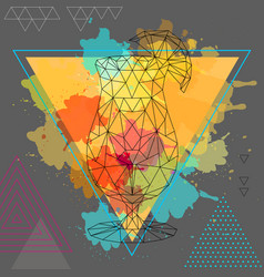 Hipster polygonal cocktail tequila sunrise vector
