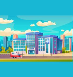 Hospital building city medical clinic ambulance vector