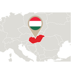 Hungary on europe map vector