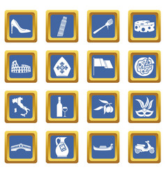 Italia icons set blue vector