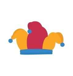 Jester hat joker colorfull hat with blue pom-poms vector image