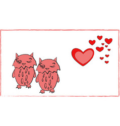 love of owls heart couple romance animal art vector image