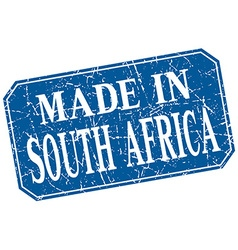 made in South Africa blue square grunge stamp vector image