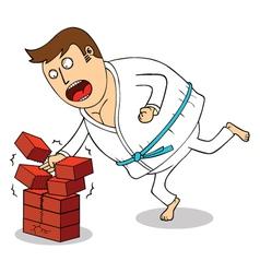Man breaking bricks vector
