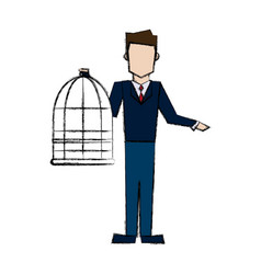 Man holding a cage empty veterinary concept vector