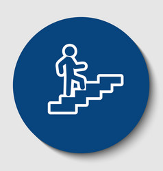 Man on stairs going up white contour icon vector