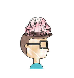 man with brain icon vector image