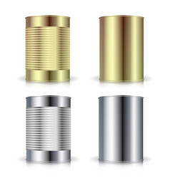 metallic cans realistic empty product vector image