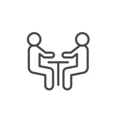 Negotiation line outline icon and meeting concept vector