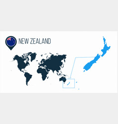 New zealand map located on a world map with flag vector
