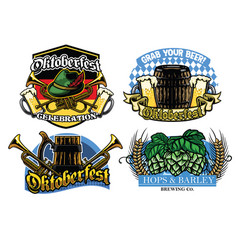 oktoberfest badge design collection vector image