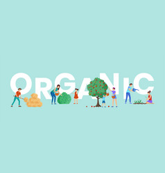 Organic farm harvest word concept banner parents vector