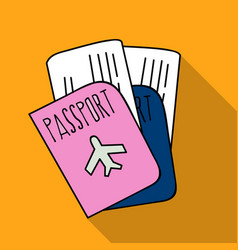 passport icon in flat style isolated on white vector image