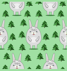 Pattern with cute rabbits in firs forrest vector
