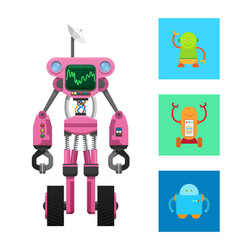 Pink robot machine on two black wheels card vector