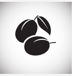 Plums on white backgorund vector