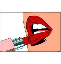 pop art makeup closeup of sexy girl paints her vector image