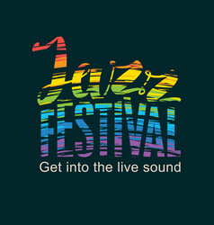 poster for jazz festival with rainbow colors text vector image
