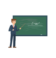Professor standing in front of school blackboard vector
