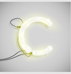 realistic neon character from a typeset vector image