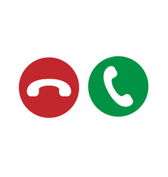 Red and green phone icon isolated on white vector
