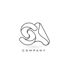 Sa monogram letter logo with thin black monogram vector
