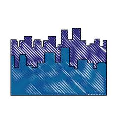 Scribble city view vector