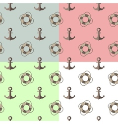 sea seamless pattern with anchors and lifebuoys vector image