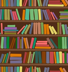 Seamless pattern of bookshelf with books vector