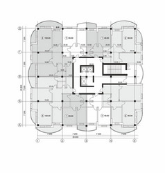 Section plan a multi-storey apartment building vector