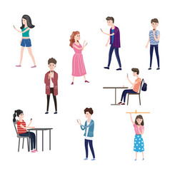 set of characters teenagers men and women looking vector image