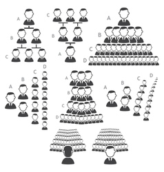 Set of hierarchy icons vector image vector image