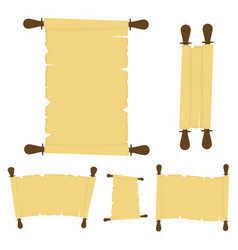 set of old paper scrolls isolated on white vector image