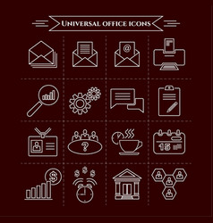 set of universal office and organizational icons vector image