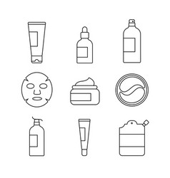 Set skin care and cosmetics icons vector