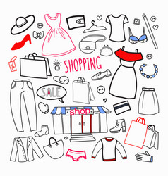 shopping hand drawn set sale woman fashion vector image