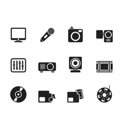 Silhouette Media equipment icons vector image
