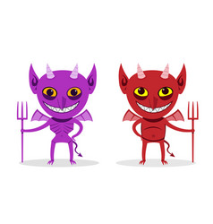 Skinny imp and fat devil front view art vector