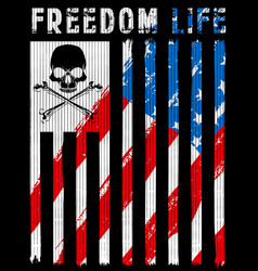 skull poster with american flag vector image