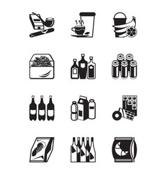 Small grocery store icon set vector