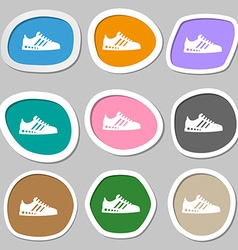 Sneakers symbols Multicolored paper stickers vector image