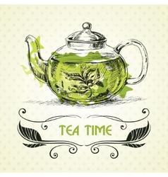 Teapot green tea vector