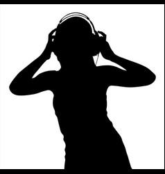 teen girl in headphones silhouette vector image