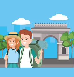 tourist couple cartoons vector image