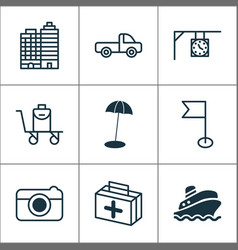 travel icons set with bag on cart flag medicine vector image