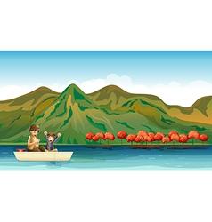 Two boys fishing vector