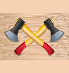 Two crossed axes on a wooden background vector