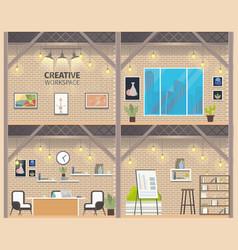 two floor coworking business workspace banner vector image